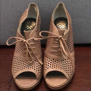 Vince Camuto Tan Perforated Heels